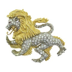 Fierce Roaring Lion Diamond Brooch Pin in 18 Karat Yellow Gold with Ruby Eyes