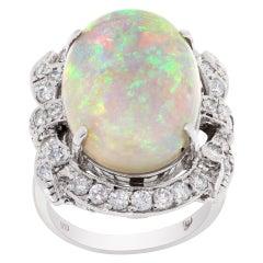 Fiery Australian Opal & Diamond Ring in 18k White Gold, 1.16 Carat in Diamonds