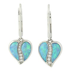 Fiery Blue Opal and Diamond Kabana Earrings, 14k Gold Round Brilliant .15 Carat
