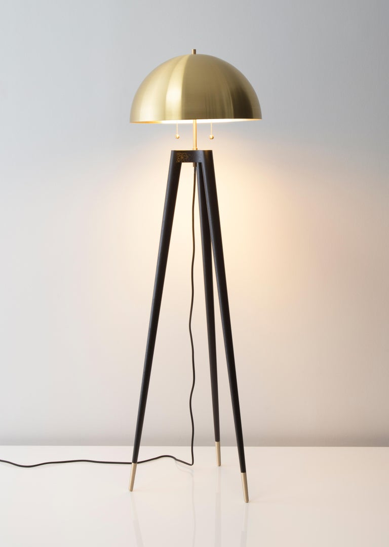 American Fife Tripod Floor Lamp in Walnut and Satin Brass By Matthew Fairbank For Sale