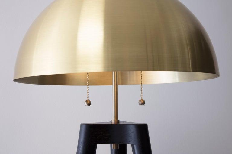 Spun Fife Tripod Floor Lamp in Walnut and Satin Brass By Matthew Fairbank For Sale