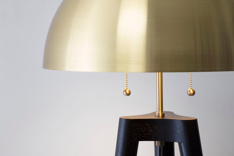 Fife Tripod Floor Lamp in Walnut and Satin Brass By Matthew Fairbank In Excellent Condition For Sale In Brooklyn, NY