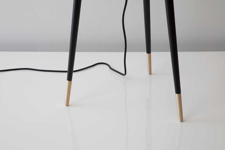 Contemporary Fife Tripod Floor Lamp in Walnut and Satin Brass By Matthew Fairbank For Sale