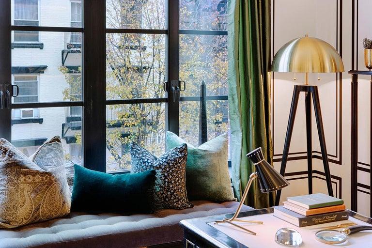 Fife Tripod Floor Lamp in Walnut and Satin Brass By Matthew Fairbank For Sale 2
