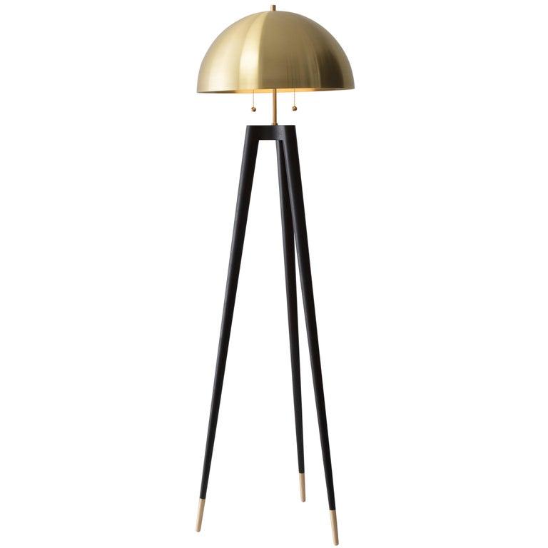 Fife Tripod Floor Lamp in Walnut and Satin Brass By Matthew Fairbank For Sale