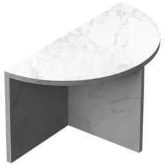 Fifty Circle White Carrara Marble Side Table