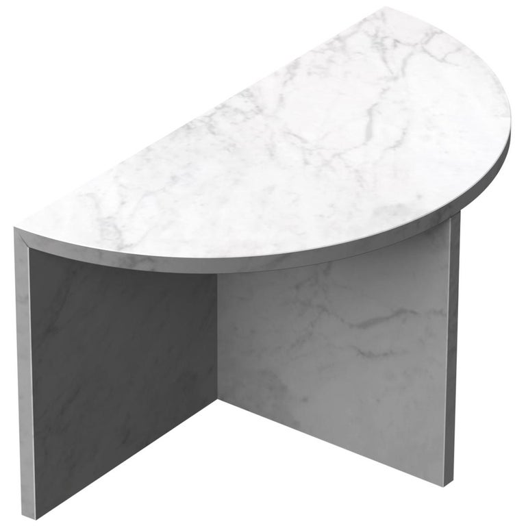 Fifty Circle White Carrara Marble Side Table For Sale