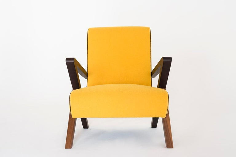 Modern Fiftypop, Contemporary Armchair Inspired to the 1950s with Leather Details For Sale