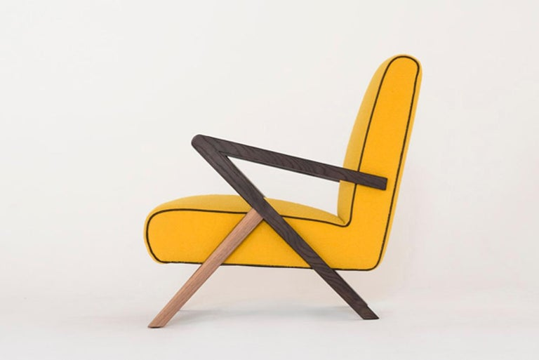 Italian Fiftypop, Contemporary Armchair Inspired to the 1950s with Leather Details For Sale