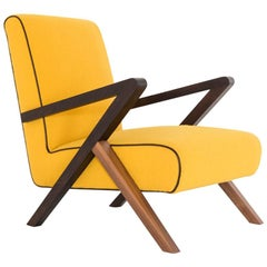 Fiftypop, Contemporary Armchair Inspired to the 1950s with Leather Details