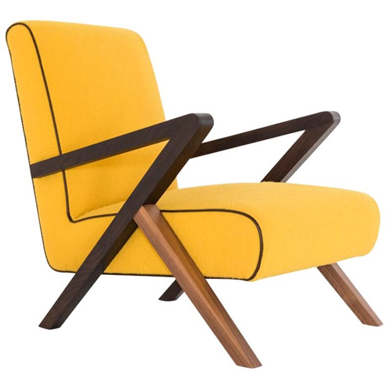 Fiftypop, Contemporary Armchair Inspired to the 1950s with Leather Details For Sale