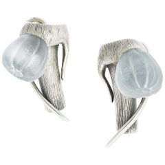 Fig Earrings in Sterling Silver with Blue Quartzes by the Artist