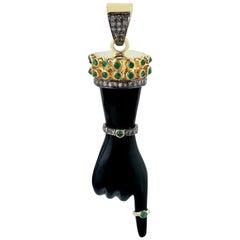 Figa Charm Diamond Emerald Pendant Necklace