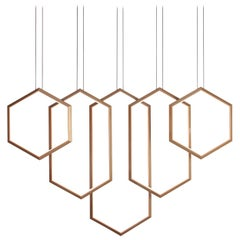 Figaro V, Gold Geometric Modern LED Linear Chandelier Light Fixture