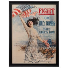 """Fight or Buy Bonds"" Vintage WWI Poster by Howard Chandler Christy, 1917"