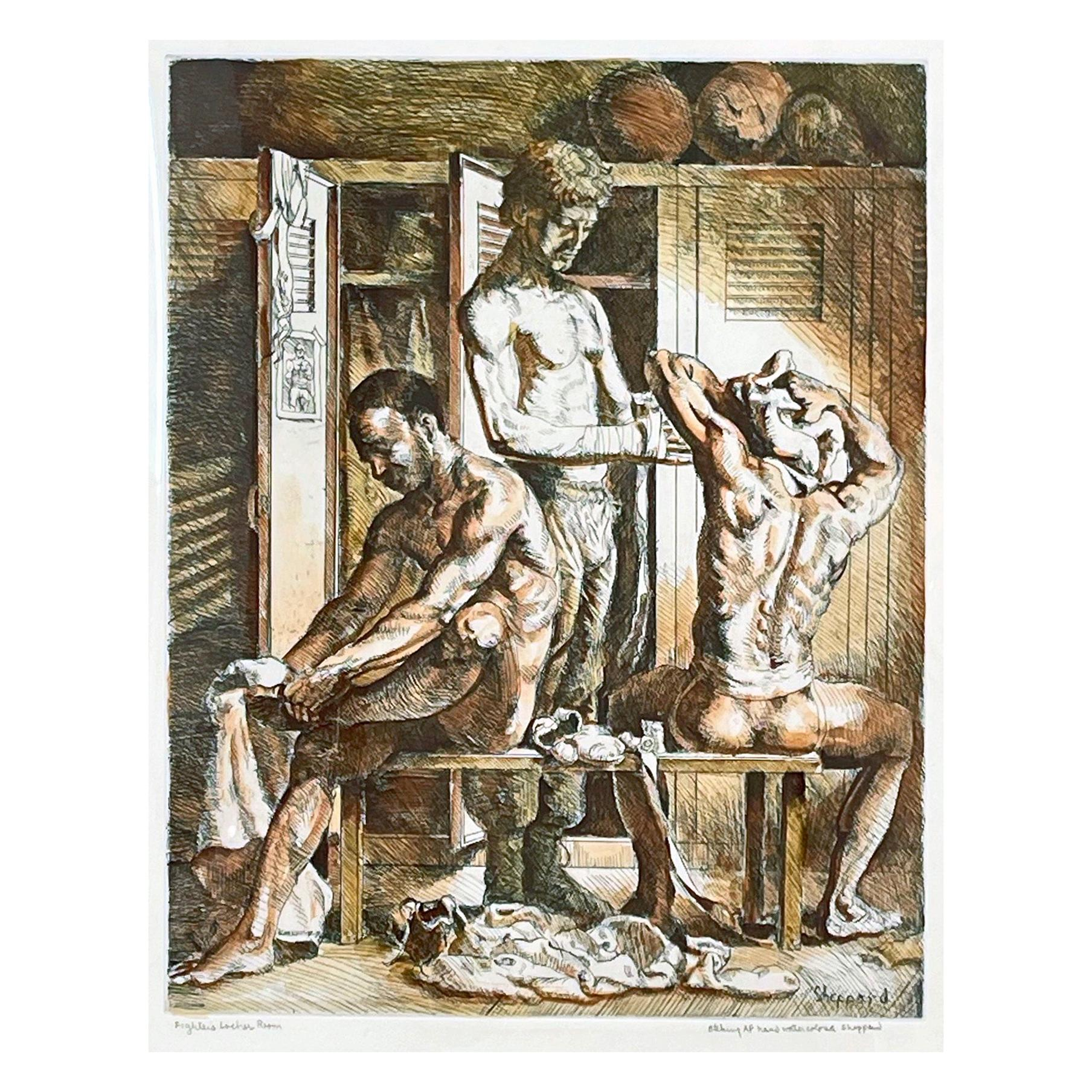 """""""Fighter's Locker Room,"""" Large, Rare Print with Watercolor with Nude Boxers"""