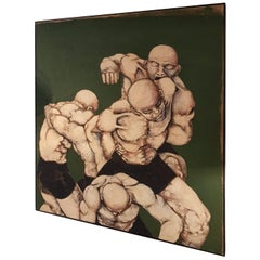 Fighters on Green Base Cocever Oil on Canvas Painting