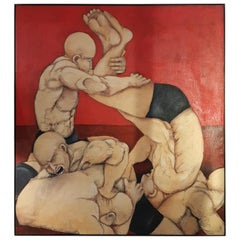 Fighters on Red Base Oil on Canvas Painting by Cocever