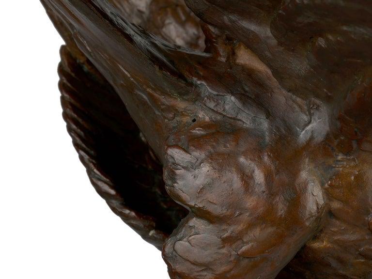 """Fighting Eagles"" Modernist Art Deco Bronze Sculpture by Maximilien Fiot & Susse For Sale 9"