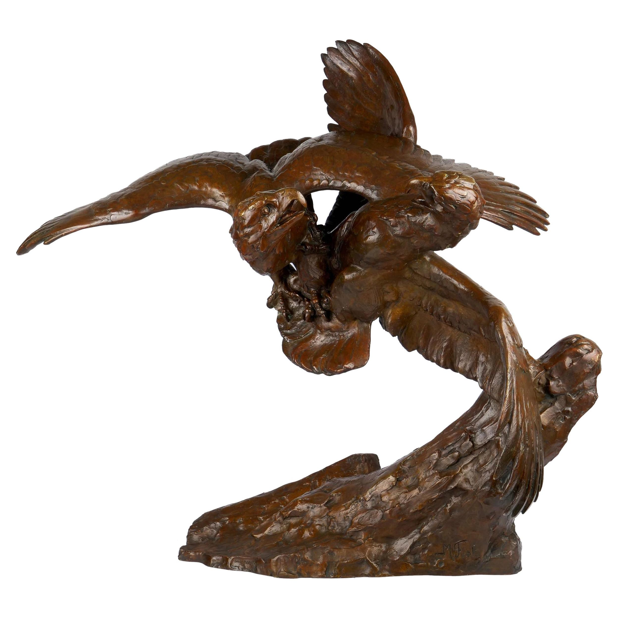 """Fighting Eagles"" Modernist Art Deco Bronze Sculpture by Maximilien Fiot & Susse"