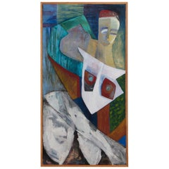 Figural Abstract Painting in Artist Frame