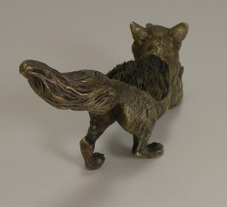 Figural Antique Austrian Bronze Pen/Nib Wipe - Fox, circa 1900 In Good Condition For Sale In London, GB