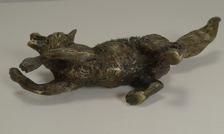 Late 19th Century Figural Antique Austrian Bronze Pen/Nib Wipe - Fox, circa 1900 For Sale
