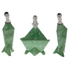 Figural Art Deco Perfume Bottles and Powder Box