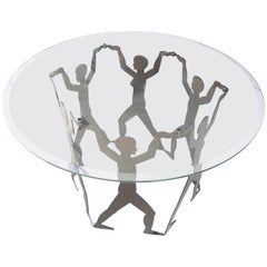 Figural Black Metal Table with Glass Top
