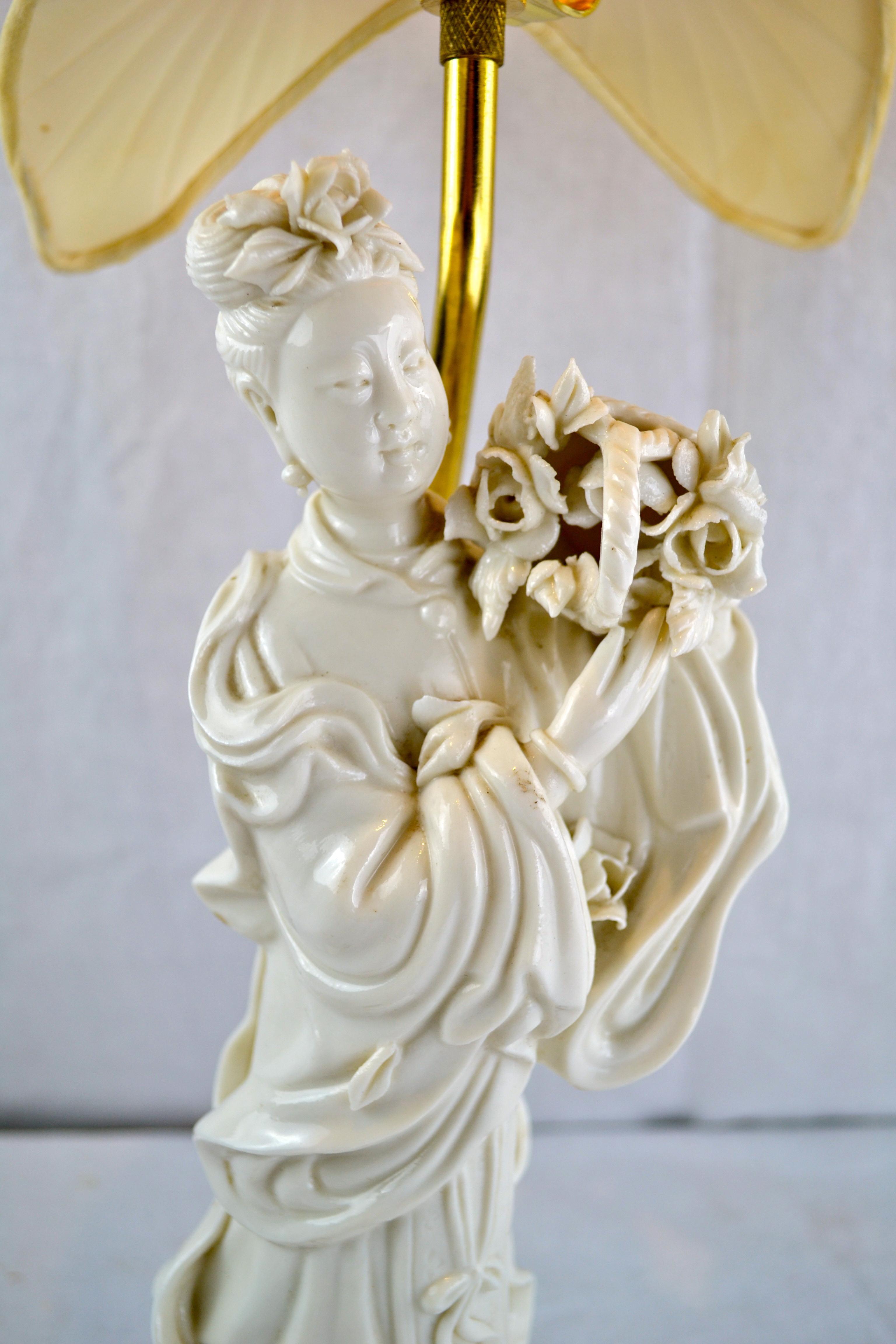 Figural Blanc De Chine Lamp Of Quan Yin With An Silk Lotus Flower
