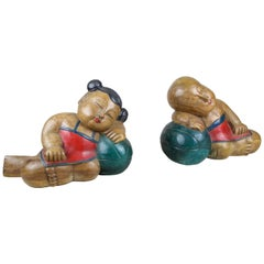 Figural Book Ends Elmwood Hand Carved 20th Century, Japan, circa 1930