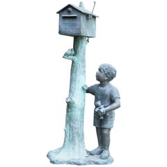 Figural Bronze Mailbox of a Boy with Birds