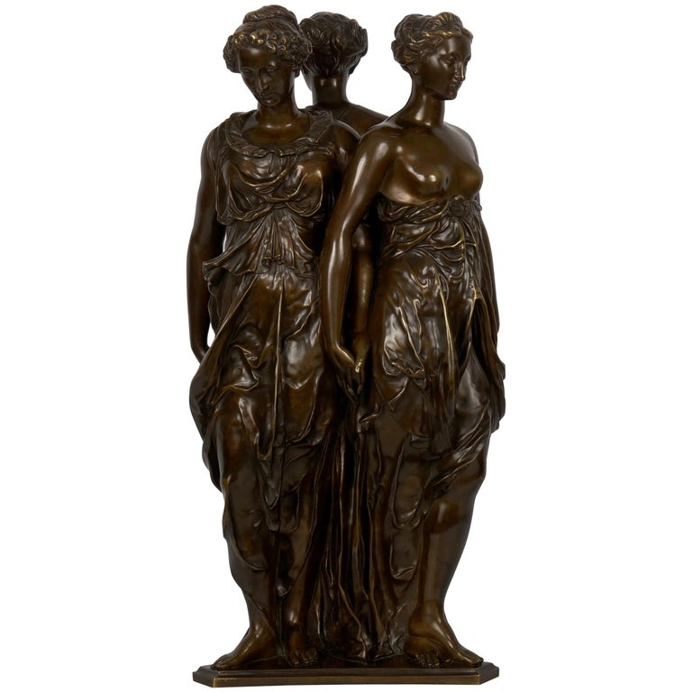 "Figural Bronze Sculpture of ""Three Graces"" after Germain Pilon For Sale"