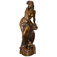 Figural Bronze Statue Depicting L' Amazon Captive by A. Carrier Belleuse