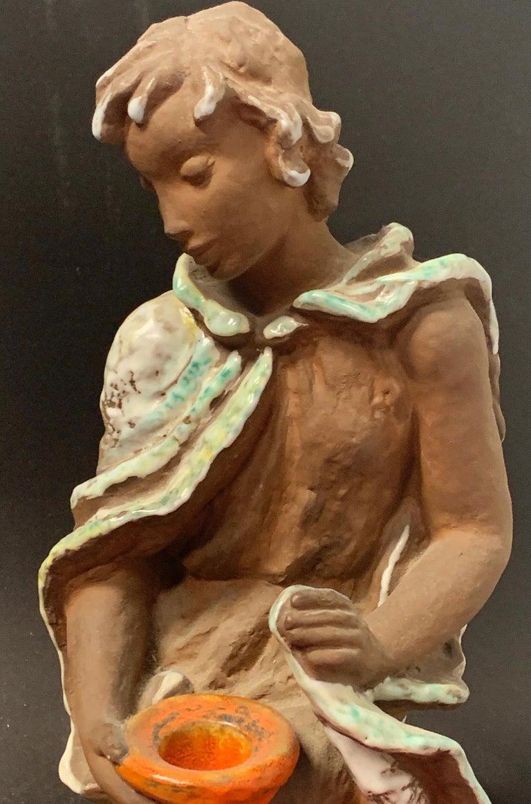 German Figural Candlestick, Delightful 1950s-Era Ceramic Sculpture with Candleholder For Sale