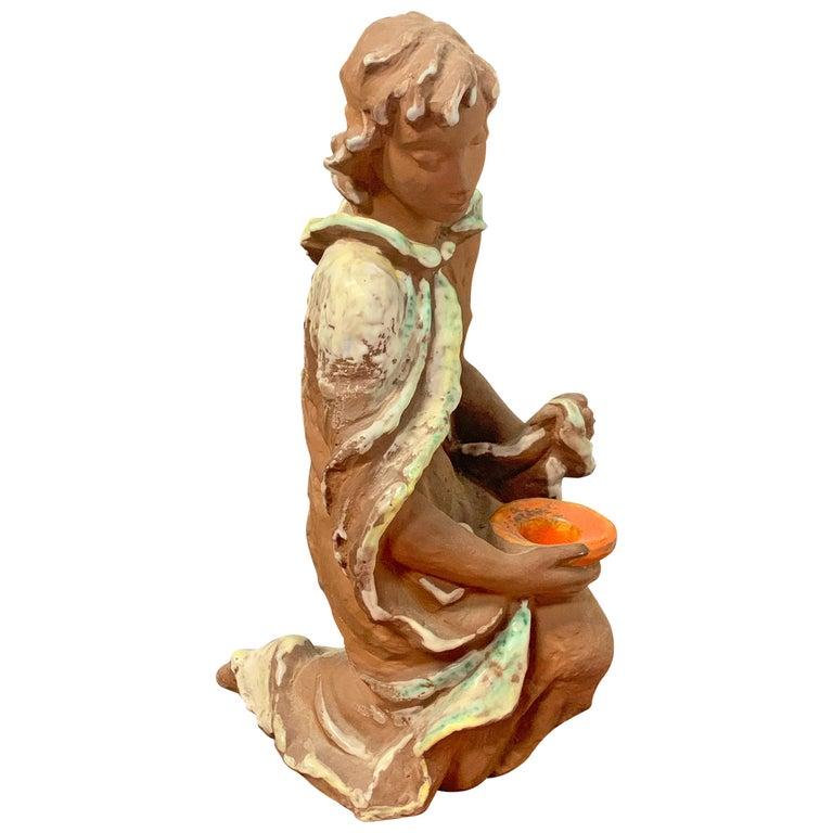 Figural Candlestick, Delightful 1950s-Era Ceramic Sculpture with Candleholder For Sale
