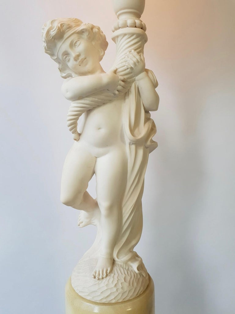 Figural Carved Alabaster Table Lamp on a Column by Prof. G. Bessi For Sale 1