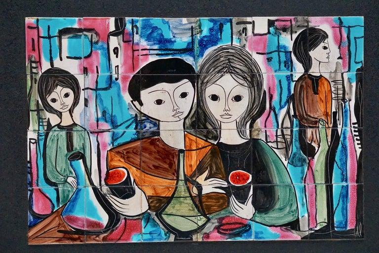 Ceramic wall art by Jean De Lespinasse, 1950s-1960s  Dimensions ceramics artwork without frame. Width 62 cm, height 41 cm. Dimensions with frame. Width 83 cm, height 62 cm, depth 2 cm.