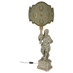 Figural Cherub Lamp by Chelini Firenze White Paint Finish 1980 Grey Shade