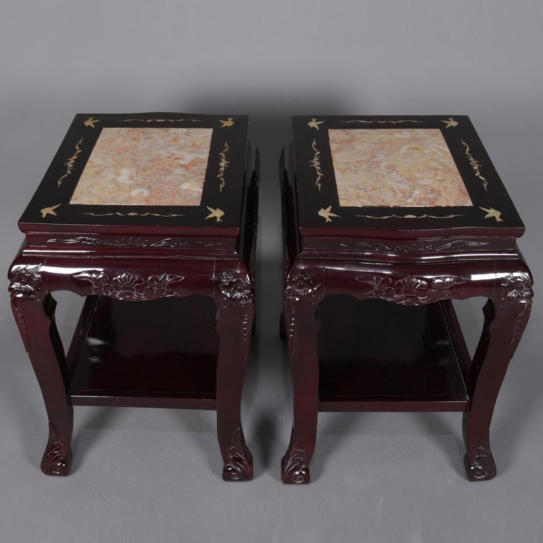 Chinoiserie Figural Chinese Mother of Pearl Inlaid Carved Hardwood Marble-Top Tables For Sale