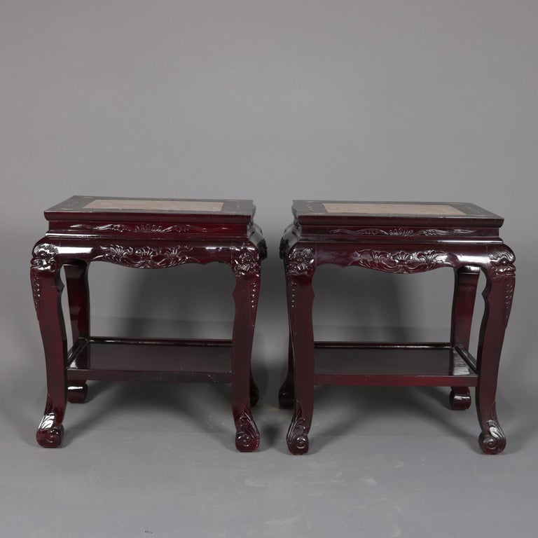 Inlay Figural Chinese Mother of Pearl Inlaid Carved Hardwood Marble-Top Tables For Sale