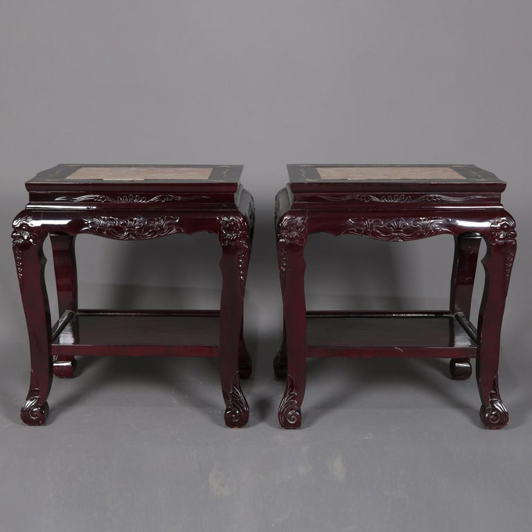 Figural Chinese Mother of Pearl Inlaid Carved Hardwood Marble-Top Tables In Good Condition For Sale In Big Flats, NY