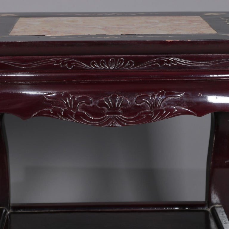 20th Century Figural Chinese Mother of Pearl Inlaid Carved Hardwood Marble-Top Tables For Sale
