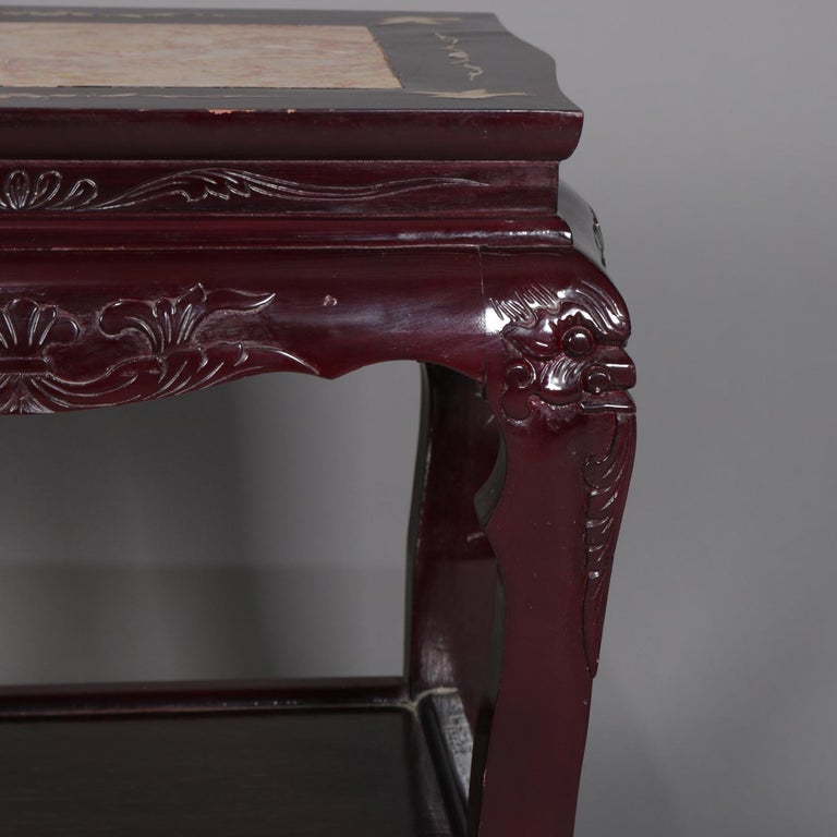 Figural Chinese Mother of Pearl Inlaid Carved Hardwood Marble-Top Tables For Sale 1
