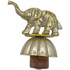 Figural Elephant Metal Bottle Stopper Topper Barware, German, 1920s