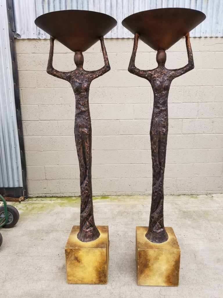 Brutalist Floor Lamps in the Manner of Alberto Giacometti For Sale 11