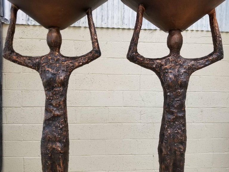 Steel Brutalist Floor Lamps in the Manner of Alberto Giacometti For Sale