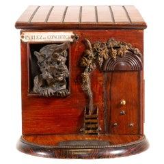 Figural French Rosewood Cigar Box, circa 1880