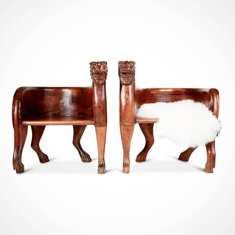 Figural Full Body Carved Teak Wood Lioness Club Chairs, Pair For Sale 7