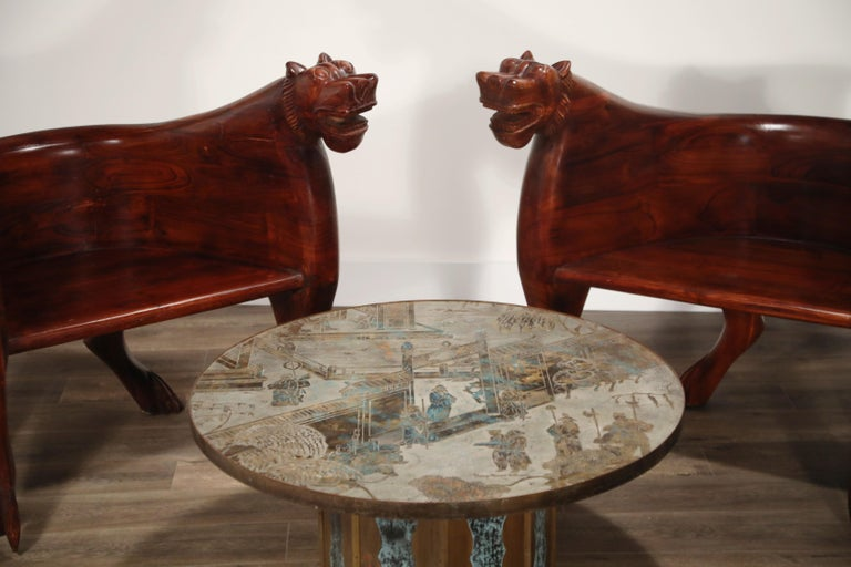 Figural Full Body Carved Teak Wood Lioness Club Chairs, Pair For Sale 8